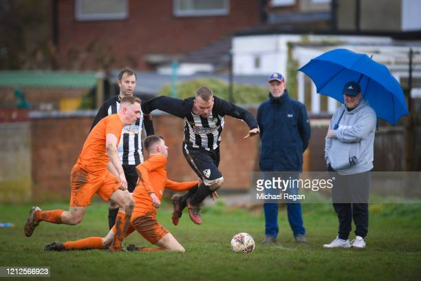 Action during Sunday league football between Syston Brookside FC and Shepshed Oaks FC on March 15 2020 in Leicester England