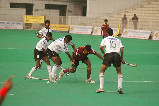 Action during the 42nd STC Nehru Cup hockey tournament match between Punjab National Bank and Bharat Petroleum at the Shivaji Stadium New Delhi