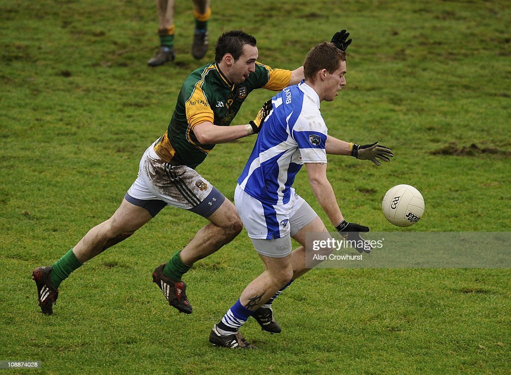 Action during The Allianz GAA National Football League match between Laois (blue) and Meath (green/yellow) at O'Moore Park on February 06, 2011 in Portlaoise, Ireland