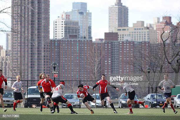 Action during the Binghamton Devils V West Pontomac rugby match during the Four Leaf 15's Club Rugby Tournament at Randall's Island New York. The...