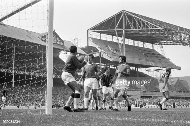 Action during the match between Everton and Crystal Palace at Goodison Park, as construction work goes on for a new stand, 16th August 1969.