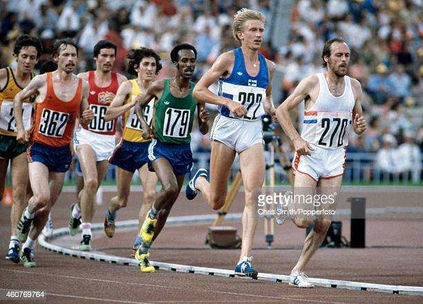 Action during the men's 10000 metres event during the Summer Olympic Games in Moscow circa July 1980 Among the competitors are Mike McLeod of Great...