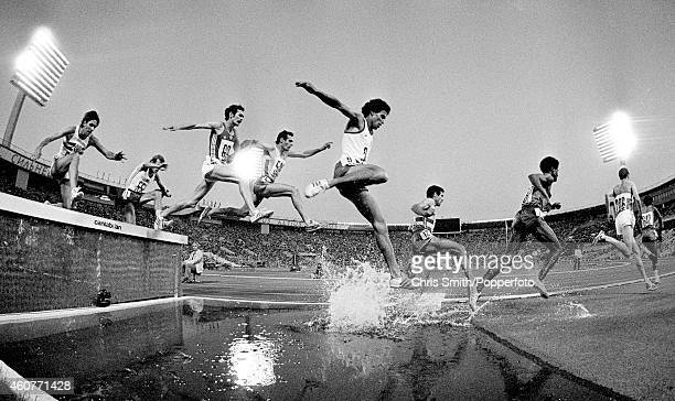 Action during the men's 3000 metres steeplechase at the Summer Olympics Games in Moscow circa July 1980