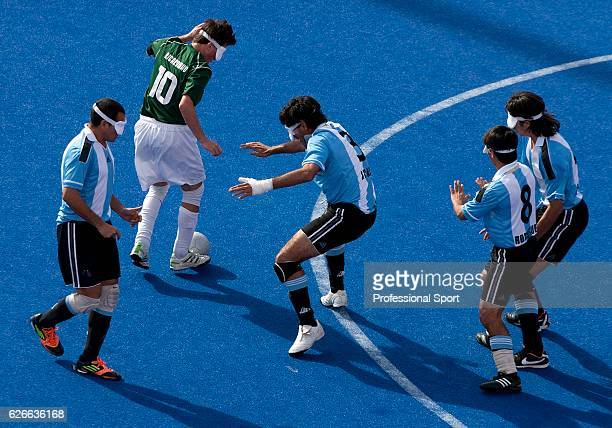 Action during the Men's Blind Football match between Brazil and Argentina on Day 8 of the London 2012 Paralympic Games at the Olympic Park on...