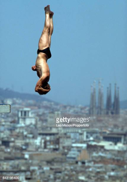 Action during the men's high board diving event with the Sagrada Familia cathedral in the background during the Summer Olympic Games in Barcelona...