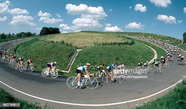 Action during the men's individual road race cycling event at the Summer Olympic Games in Moscow on 28th July 1980