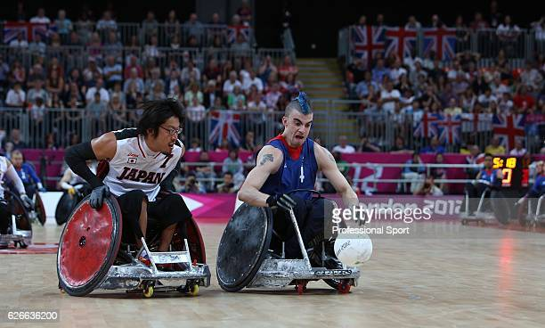 Action during the Men's Pool Phase Group A wheelchair rugby match between Great Britain and Japan on day 9 of the London 2012 Paralympic Games at the...