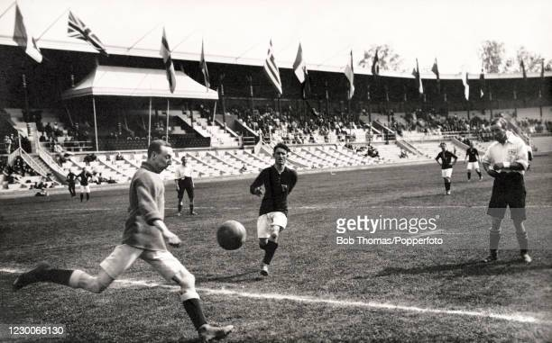 Action during the second-round football match between Great Britian and Hungary at the Summer Olympic Games in Stockholm, Sweden on 30th June 1912....