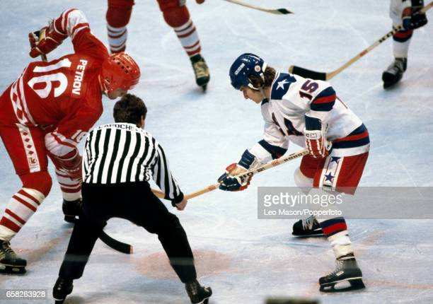 Action during the semifinal ice hockey match between the Soviet Union and the United States at the Winter Olympic Games in Lake Placid New York on...