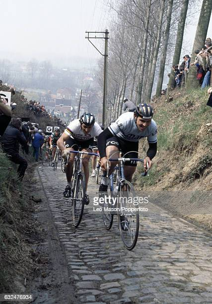 Action during the Tour of Flanders cycling race in Belgium circa April 1978