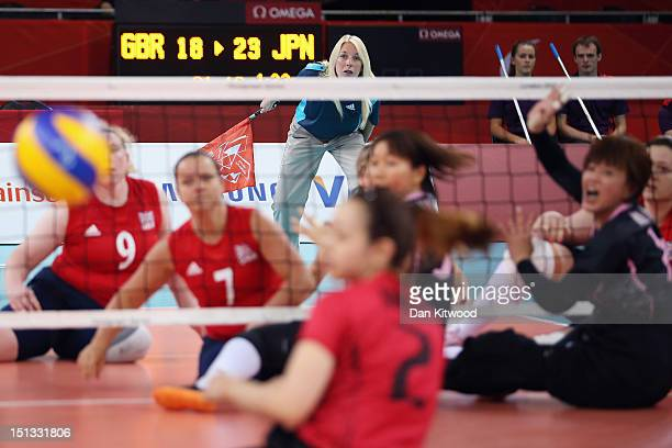 Action during the Women's Sitting Volleyball 78 Clasification match against Japan on day 8 of the London 2012 Paralympic Games at ExCel on September...