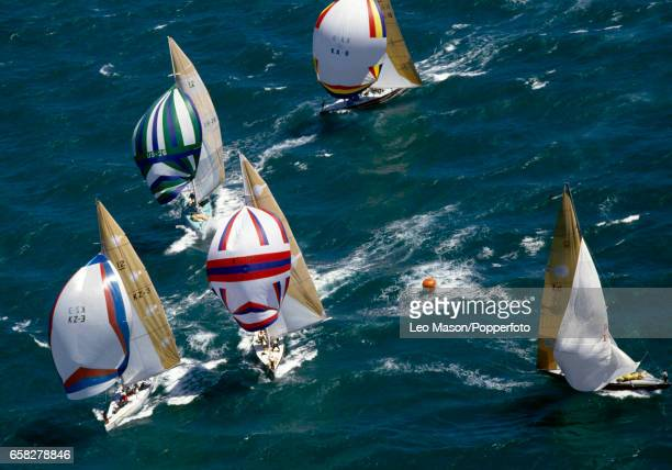 Action during the World 12 Metre Championships held off Perth Australia circa February 1986