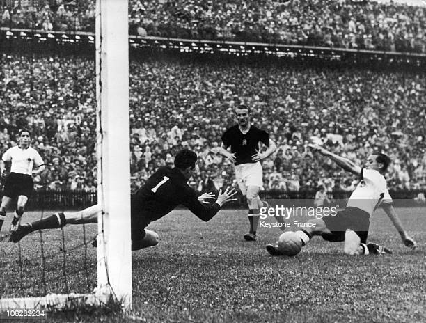 Action during the World Cup final between West Germany and Hungary on July 24 1954 in Bern Switzerland West Germany won the match 32