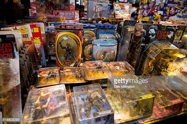 Action figures for sale on the 2nd day of Comic Con 2016 on March 20 2016 in Birmingham United Kingdom