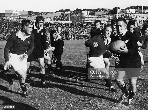 Action from South Africa vs New Zealand in a rugby test series match at the Boet Erasmus Stadium Port Elizabeth 31st August 1960 South Africa beat...