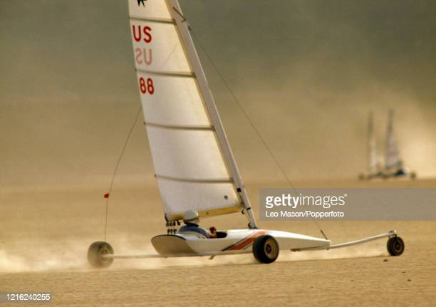 Action from the America's Landsailing Cup in the Ivanpah Lake near Las Vegas, Nevada, United States, circa April 1985.