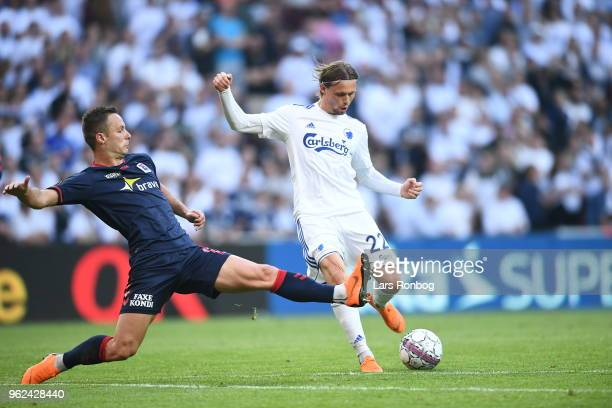 Action from the Danish Alka Superliga Europa League Playoff match between FC Copenhagen and AGF Aarhus at Telia Parken Stadium on May 25 2018 in...