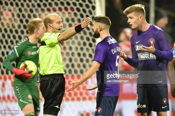Action from the Danish Alka Superliga match between AaB Aalborg and FC Midtjylland at Aalborg Portland Park on November 20 2017 in Aalborg Denmark