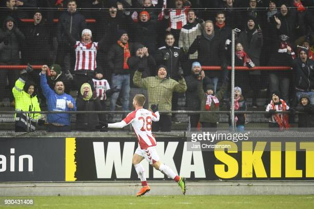 Action from the Danish Alka Superliga match between AaB Aalborg and Randers FC at Aalborg Portland Park on March 11 2018 in Aalborg Denmark