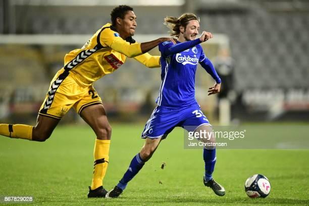 Action from the Danish Alka Superliga match between AC Horsens and FC Copenhagen at Casa Arena Horsens on October 29 2017 in Horsens Denmark