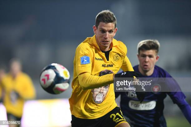 Action from the Danish Alka Superliga Match between AC Horsens and FC Midtjylland at CASA Arena Horsens on February 9 2018 in Horsens Denmark