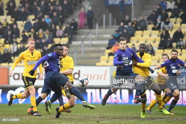 Action from the Danish Alka Superliga match between AC Horsens and FC Midtjylland at CASA Arena Horsenas on April 3 2018 in Horsens Denmark