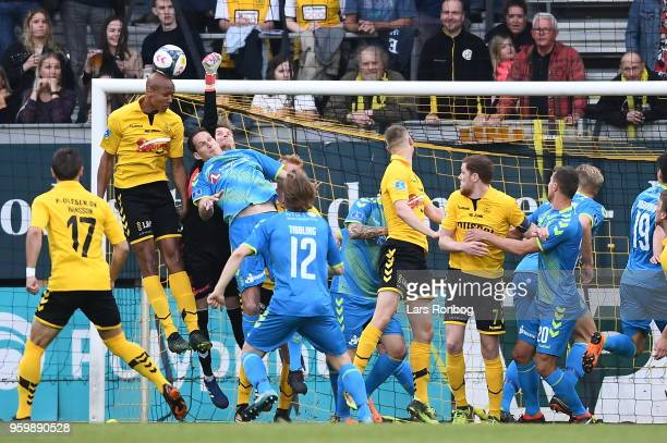 Action from the Danish Alka Superliga match between AC Horsens and Brondby IF at CASA Arena Horsens on May 18 2018 in Horsens Denmark