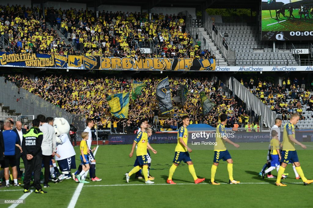 Action from the Danish Alka Superliga match between AGF Aarhus and Brondby IF at Ceres Park on August 20, 2017 in Aarhus, Denmark.