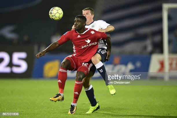 Action from the Danish Alka Superliga match between AGF Arhus and Lyngby BK at Ceres Park on October 16 2017 in Arhus Denmark