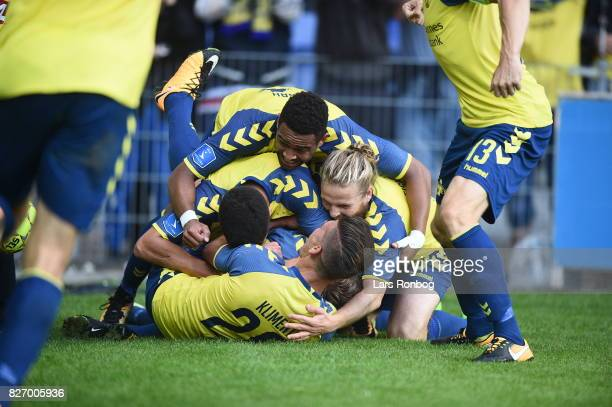 Action from the Danish Alka Superliga match between Brondby IF and FC Copenhagen at Brondby Stadion on August 6 2017 in Brondby Denmark