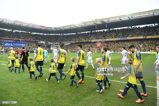 Action from the Danish Alka Superliga match between Brondby IF and FC Copenhagen at Brondby Stadion on April 15 2018 in Brondby Denmark