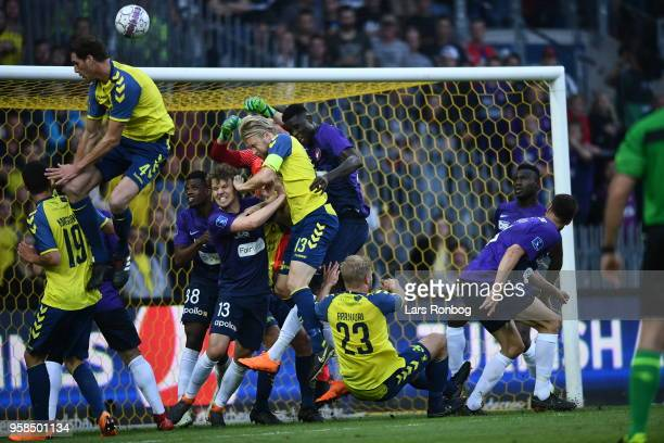 Action from the Danish Alka Superliga match between Brondby IF and FC Midtjylland at Brondby Stadion on May 14 2018 in Brondby Denmark