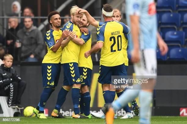 Action from the Danish Alka Superliga match between Brondby IF and Sonderjyske at Brondby Stadion on October 1 2017 in Brondby Denmark