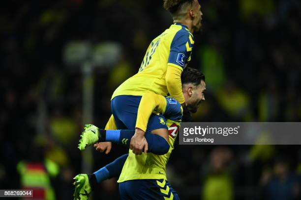 Action from the Danish Alka Superliga match between Brondby IF and Randers FC at Brondby Stadion on October 30 2017 in Brondby Denmark