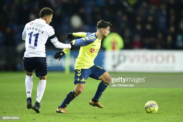 Action from the Danish Alka Superliga match between Brondby IF and AGF Arhus at Brondby Stadion on December 10 2017 in Brondby Denmark