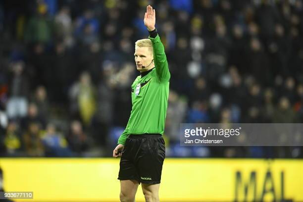 Action from the Danish Alka Superliga match between Brondby IF and Hobro IK at Brondby Stadion on March 18 2018 in Brondby Denmark