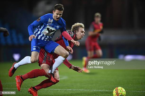 Action from the Danish Alka Superliga match between Esbjerg fB and FC Nordsjalland at Blue Water Arena on November 27 2016 in Esbjerg Denmark