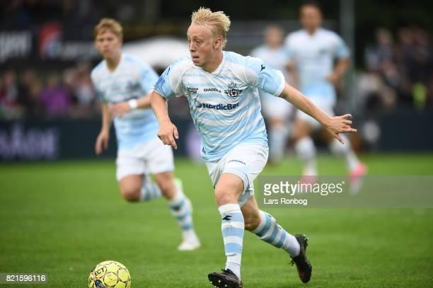 Action from the Danish Alka Superliga match between FC Helsingor and OB Odense at Helsingor Stadion on July 24 2017 in Helsingor Denmark