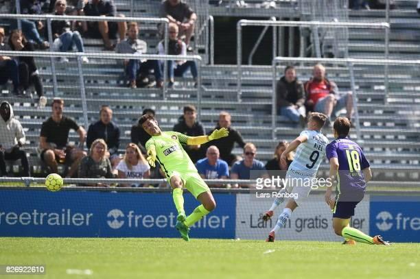Action from the Danish Alka Superliga match between FC Helsingor and FC Midtjylland at Helsingor Stadion on August 6, 2017 in Helsingor, Denmark.