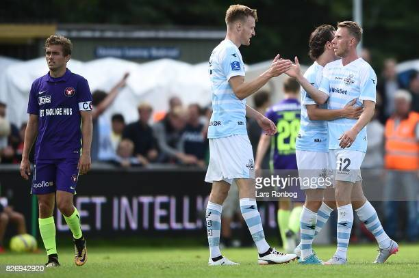 Action from the Danish Alka Superliga match between FC Helsingor and FC Midtjylland at Helsingor Stadion on August 6 2017 in Helsingor Denmark