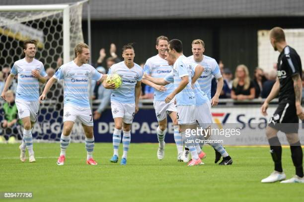 Action from the Danish Alka Superliga match between FC Helsingor and Randers FC at Helsingor Stadion on August 26 2017 in Helsingor Denmark