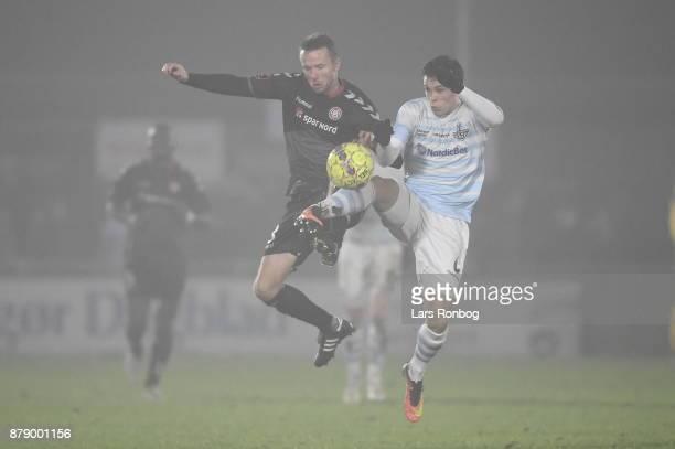 Action from the Danish Alka Superliga match between FC Helsingor and AaB Aalborg at Helsingor Stadion on November 25 2017 in Helsingor Denmark