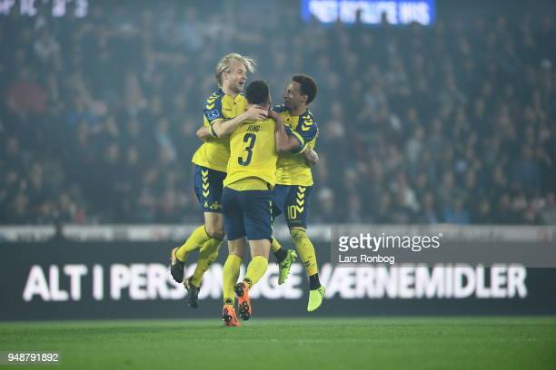 Action from the Danish Alka Superliga match between FC Midtjylland and Brondby IF at MCH Arena on April 19 2018 in Herning Denmark