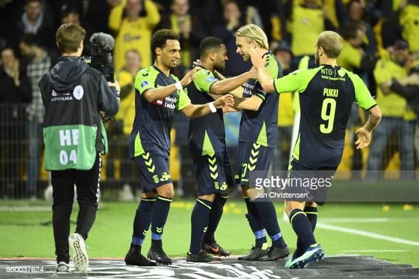 Action from the Danish Alka Superliga match between FC Nordsjalland and Brondby IF at Right to Dream Park on April 22 2018 in Farum Denmark