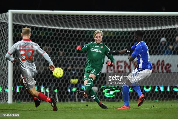 Action from the Danish Alka Superliga match between Lyngby BK and AaB Aalborg at Lyngby Stadion on December 2 2017 in Lyngby Denmark