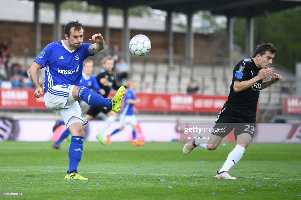 Action from the Danish Alka Superliga match between Lyngby BK and Randers FC at Lyngby Stadion on May 17, 2018 in Lyngby, Denmark.