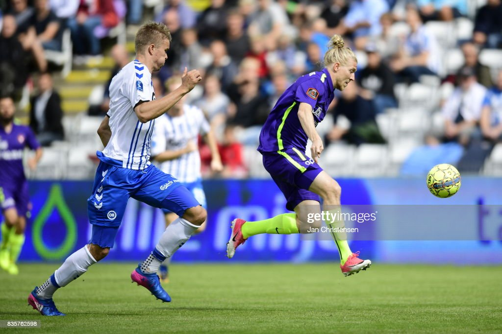Action from the Danish Alka Superliga match between OB Odense and FC Midtjylland at TREFOR Park on August 20, 2017 in Odense, Denmark.