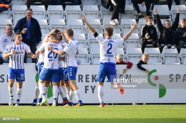 Action from the Danish Alka Superliga match between OB Odense and Randers FC at TREFOR Park on September 24 2017 in Odense Denmark