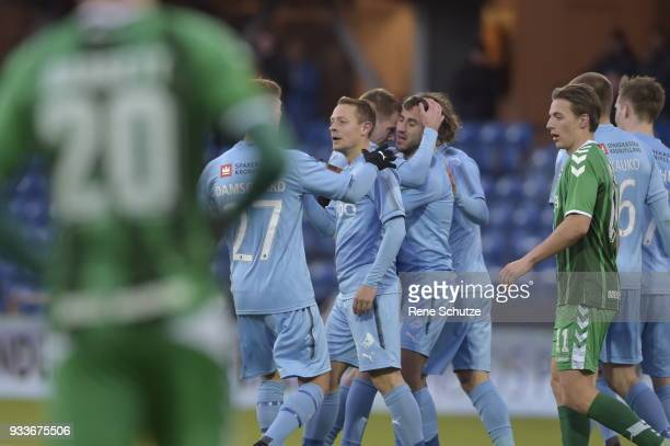 Action from the Danish Alka Superliga match between Randers FC and OB Odense at BioNutria Park on March 18 2018 in Randers Denmark