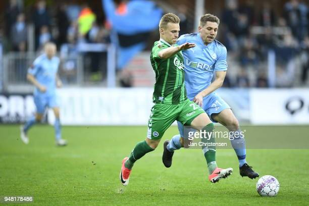 Action from the Danish Alka Superliga match between Randers FC and OB Odense at BioNutria Park Randers on April 18 2018 in Randers Denmark